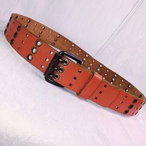 """37"""" Vintage 4 Row Orange Leather Belt Unique"""
